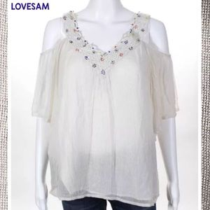 LOVE SAM Ivory OffShoulder Bead Detail Lace Blouse